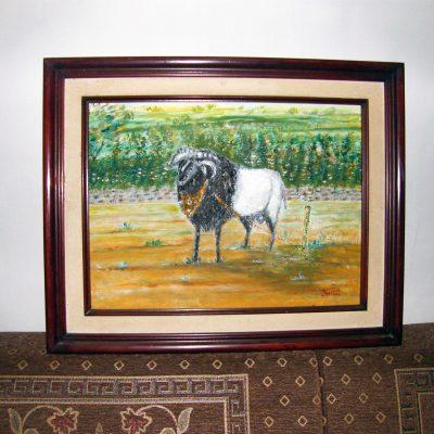 Lukisan domba karya Tjetjep Subarnas (2010) - tampak depan