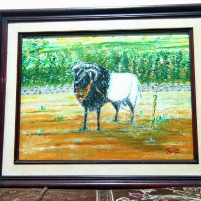 Lukisan domba karya Tjetjep Subarnas (2010) - tampak depan dekat