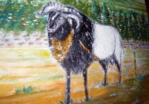 Lukisan domba karya Tjetjep Subarnas (2010) - tampak depan detail