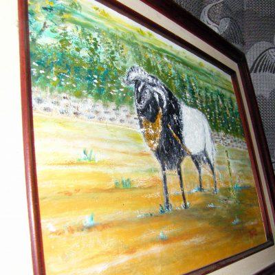 Lukisan domba karya Tjetjep Subarnas (2010) - tampak depan serong kanan