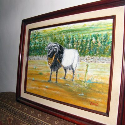 Lukisan domba karya Tjetjep Subarnas (2010) - tampak depan serong kiri